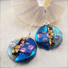 Sakurako Dichroic Earrings by HanaSakuraDesigns on Etsy Dichroic Glass Jewelry, Glass Earrings, Round Earrings, Earrings Handmade, Handmade Jewelry, Bullseye Glass, Pink Polka Dots, Tack, Wire Jewelry