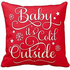"Cotton Linen Square Decorative Throw Pillow Case Cushion Cover Baby It's Cold Outside Red Background Holiday Merry Christmas Gift 18 ""X18 "" Queen's designer http://www.amazon.com/dp/B018A2F25M/ref=cm_sw_r_pi_dp_hVA5wb0FWW9W6"
