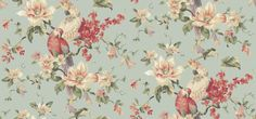 Lavender Dream (322319) - Eijffinger Wallpapers - A beautiful large floral trail with tropical parrots in a hand painted effect. Showing in red and cream on a pale blue background. Please request a sample for true colour match.