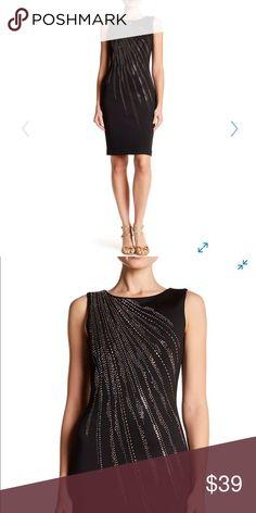 9d73fa9a0b9f Calvin Klein studded sheath dress NWT Gold-tone and silver-tone stud  embellishments add