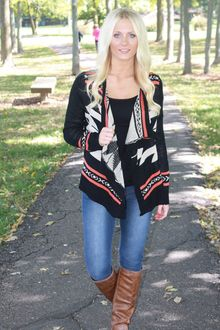 Aztec Open Cardigan- Black Aztec Cardigan, Open Cardigan, Black Cardigan, Magnolia, Autumn Winter Fashion, Taupe, Style Inspiration, Closet Space, My Style