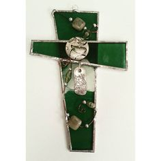 Green Stained Glass Cross Silver Bronze Green by WOAbyKrista
