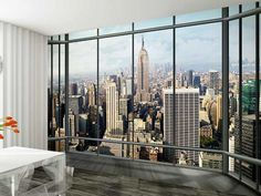 1Wall New York Skyline Window View Wallpaper Photo Wall Mural: Amazon.co.uk: Kitchen & Home