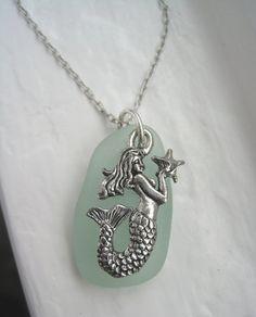 Under the Sea Sea glass Mermaid Sea Horse by TheTiffanyBlueShop, $24.00