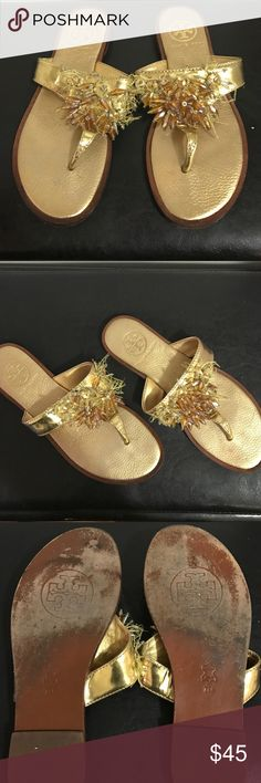 Tory Burch sandals Pre-owned. Like new. Great condition. Some of the beads have fallen off but barely noticeable. Offers accepted only through offer button. Thanks 😊 Tory Burch Shoes Sandals