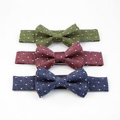 Little John Neckwear Boys Bow Ties, Burgundy, Dots, Denim, Blue, The Dot, Stitches, Jeans, Polka Dots