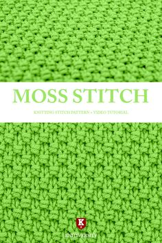 The Moss Stitch pattern is similar to the seed stitch in that it alternates between and on different rows. By doubling up the pattern repeat, it creates a texture that is great for wash cloths, scarves, and hats. Seed Stitch Hat, Double Seed Stitch, Moss Stitch, Jumper Knitting Pattern, Knitting Patterns, Crochet Patterns, Knitting Books, Knitting Videos, Easy Knitting Projects