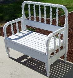 Bench made from headboard Baby Bed Bench, Bed Frame Bench, Crib Bench, Headboard Benches, Headboard And Footboard, Headboards For Beds, Bed Frames, Refurbished Furniture, Repurposed Furniture