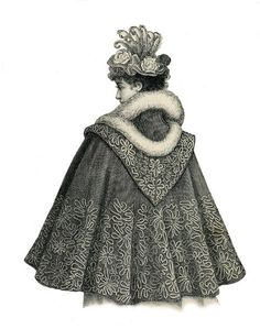 Arrival cowling silhouette (in very heavy fabric) Ball capelet, 1895 1890s Fashion, Edwardian Fashion, Vintage Fashion, Historical Costume, Historical Clothing, Motif Soutache, Cape Costume, Style Édouardien, Victorian Coat