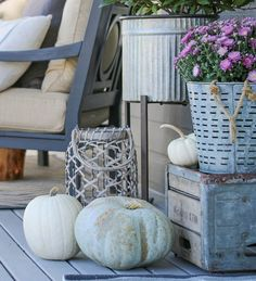 Basket Bounty with Fall Flowers & Lined Pumpkins Front Porch Makeover, Patio Makeover, Bar Stool Makeover, Farmhouse Front Porches, Mosaic Diy, Modern Patio, Brick Patios, Porch Decorating, Decorating Ideas