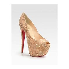 Christian Louboutin Highness Cork Lamé Platform Pumps - Natural-Gold