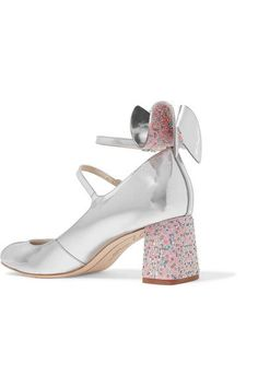 Sophia Webster - Lilia Bow-embellished Mirrored-leather Mary Jane Pumps - Silver - IT37.5