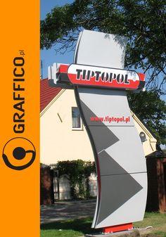 nietypowy pylon reklamowy, unique pylon sign, pylony reklamowe, totem, totemy, reklamy wolnostojące, freestanding signs, konstrukcje reklamowe, słup reklamowy, słupy reklamowe, oznakowanie firmy, company logo, welcome sign, welcome signs, illuminated signage, illuminated signs, Graffico, producent reklam Toruń, signage manufacturer Poland, branding, rebranding