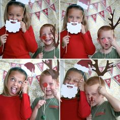 Holiday Christmas Santa Claus Printable PHOTOBOOTH PROPS - EDITABLE Text Instant Download
