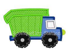 Dump Truck Applique Machine Embroidery Design blue green boy garbage construction vehicle car INSTANT DOWNLOAD