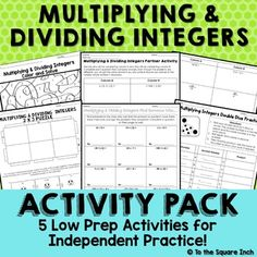 Multiplying and Dividing Integers Activities Integers Activities, Math Activities, Multiplying And Dividing Integers, 7th Grade Math, Math Workshop, Elementary Math, Teaching Math, Homework, How To Find Out
