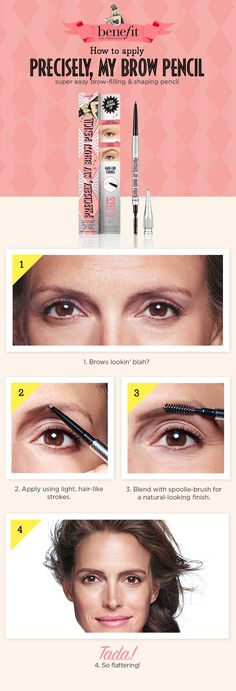 Transform shapeless, undefined brows with just a few flicks of Benefit's Precisely, My Brow Pencil. The custom, ultra-fine tip makes adding detailed definition to your brows easy, by drawing incredibly natural, hair-like strokes. This rich, waterproof pencil is ideal for spot filling sparse or over-tweezed areas. Available online and in stores at #Sephora.