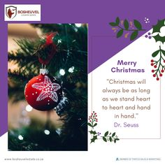 """Merry Christmas to all Bosheuvel family, friends and guests. """"Christmas will always be as long as we stand heart to heart and hand in hand."""" Dr. Seuss #BosheuvelCountryEstate #THATCo #MerryChristmas #FestiveSeason #SeasonGreetings Merry Christmas To All, Christmas Bulbs, Pig Farming, Country Estate, Sales And Marketing, Craft Beer, This Is Us, Friends, Holiday Decor"""