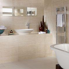 or Sample Dorchester Travertine Gloss Cream Bathroom Wall Tiles 60 x 30 Cream Bathroom, Small Bathroom Tiles, Beige Bathroom, Large Bathrooms, Bathroom Flooring, Bathroom Wall, Amazing Bathrooms, Bathroom Ideas, Tiled Bathrooms