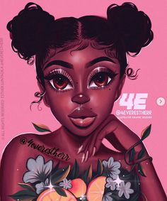 🍃🍊🌸Tropical Shawty 🌸🍊🍃 Swipe to see my inspo by 💗 Black Love Art, Black Girl Art, Black Girls Rock, Art Girl, Pink Black, Black Art Painting, Black Artwork, African American Art, African Art