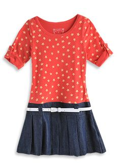 all star denim dress with knit bodice    style number: S2GL80043  size: 5 to 12  $49.99 now $20.00