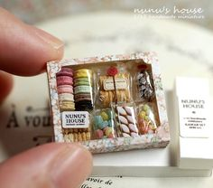 Tiny hand-made candy box by Nunu's House miniatures (Japan) LOVE Miniature Crafts, Miniature Food, Miniature Dolls, Clay Miniatures, Dollhouse Miniatures, Tiny Food, Cute Little Things, Small Things, Polymer Clay Charms
