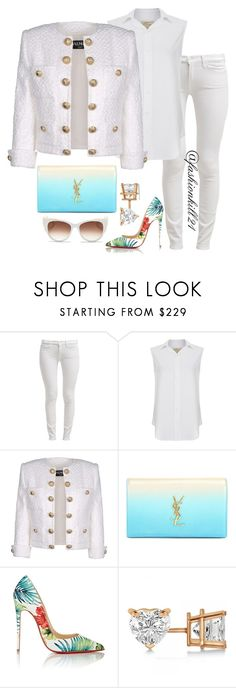 """""""Untitled #1318"""" by fashionkill21 ❤ liked on Polyvore featuring 7 For All Mankind, Current/Elliott, Balmain, Yves Saint Laurent, Christian Louboutin, Allurez and Thierry Lasry"""