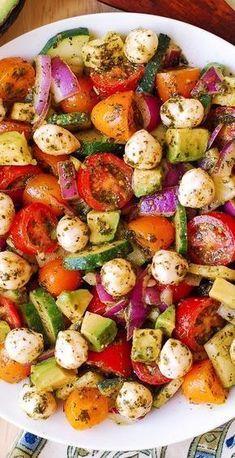 Cucumber Recipes, Pasta Salad Recipes, Healthy Salad Recipes, Detox Recipes, Juice Recipes, Healthy Drinks, Easy Recipes, Cherry Tomato Recipes, Vegetarian Recipes