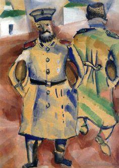 Marc Chagall. Soldados con pan, 1915. Gouache y acuarela sobre cartón. Colección M.Z. Gordeyev, San Petersburgo.