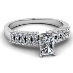 Radiant Cut Diamond Engagement Rings With White Diamond In 950 Platinum | Scintillating String Ring | Fascinating Diamonds
