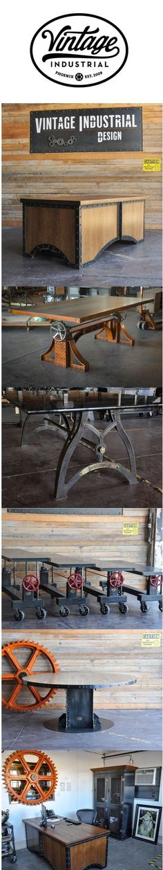 A collection of design by Vintage Industrial in Phoenix. Desks, dining tables, crank tables, armoire, and more...