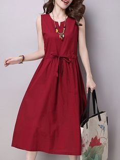 Burgundy Solid Crew Neck Cotton Sleeveless Casual Dress - PopJulia.com