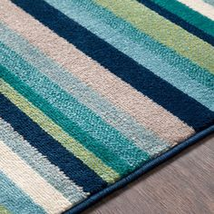 Shop Godric Teal Striped Area Rug - x - Overstock - 22403132 Small Entryways, Teal Area Rug, Carpet Stains, Cool Tones, Outdoor Area Rugs, Rug Store, Online Home Decor Stores, Cool Rugs, Eyeshadow Makeup