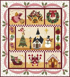 Blessings of Christmas block-of-the-month quilt by Shabby Fabrics seen at Pretty by Hand