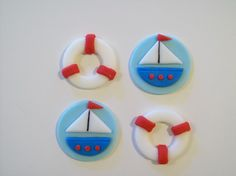 Sailboat Nautical Fondant Cupcake Toppers
