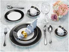 Aparelho de Jantar 42 Peças Casambiente Porcelana - Redondo Branco e Preto Park