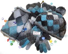 Entrelac set of hat, cowl and gloves in blue, grey and black by UrbanStyleKnit on Etsy #entrelac #knit #hat #cowl #scarf #gloves