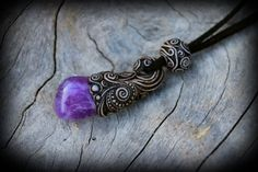 Amethyst gemstone healing pendant artisan clay by PeaceElements, €28.00