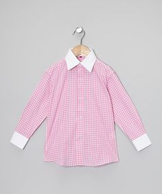 153065c39 Take a look at this Pink & White Gingham Button-Up - Toddler &