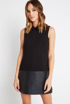 Faux-Leather Blocked Dress