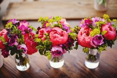 colorful bouquets with big bright pink peony