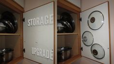 Store Saucepan Lids Inside Your Cabinet Door