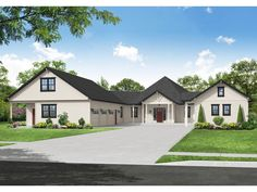 051H-0375: Contemporary House Plan with 3-Car Garage Farmhouse Plans, Farmhouse Design, Farmhouse Style, Luxury House Plans, Best House Plans, Two Bedroom Suites, Contemporary House Plans, Duplex House, Craftsman House Plans