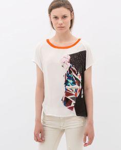 Image 1 of CONTRAST RIBBING T-SHIRT from Zara