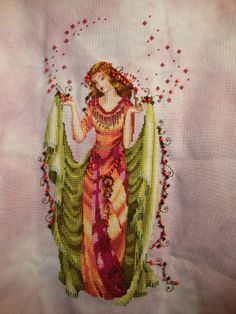 Forest Goddes by Mirabilia 32 ct Lugana By Silkweaver in Dusk DMC floss and Mill Hill Beads