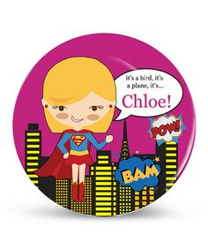 Take a look at this Blonde-Haired Super Sweetie Personalized Plate by Avery & Ethan on #zulily today!