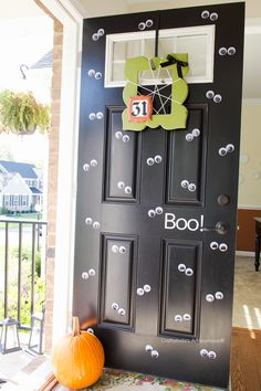 Get your Front Door decked out for Halloween in a matter of minutes! Simply add a bunch of large googly eyes! Tips on how to reuse the eyes. Googly eye door