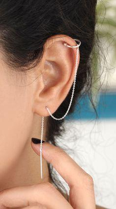 ❤️ Boho Jewelry Helix Double Piercing Earrings, Threader Earrings, Sterling Silver earrings, Chain e Piercing Duplo, Jóias Body Chains, Sterling Silver Earrings, Silver Jewelry, Long Silver Earrings, Silver Pendants, Chain Earrings, Helix Earrings, Diamond Earrings
