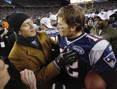 Drew Bledsoe celebrates with Tom Brady - AFC Championship: Patriots vs. Ravens - Sun, Jan 22, 2012 Gillette Stadium
