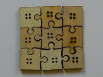 9 Puzzle Knöpfe aus Holz